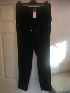 Wallis Ladies Black Smart Casual Trousers Size 10 Elastic Waist New With Tags