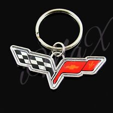 For Corvette C6 Car Logo Emblem Badge Keychain Key Ring Key Chain Metal New