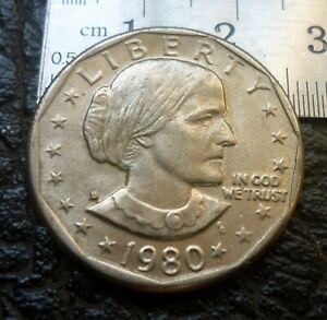 United States1980 Susan B Anthony One Dollar LIBERTY RARE 'GEF-AUNC'.