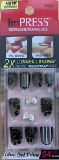 imPRESS 24 press on false nails in black & grey & nail art 58262