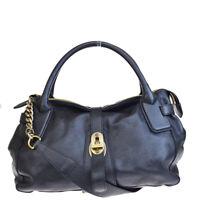 Authentic BURBERRY Logos 2Way Tote Shoulder Bag Leather Black Turkey 66BG629