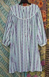 Women's Lanz of Salzburg Granny Flannel Nightgown Floral Stripe 46B Cotton