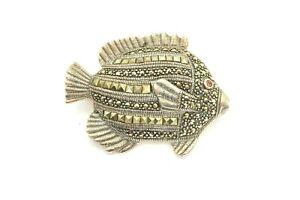 Sterling Silver 925 Sea Life Marcasite Garnet Eye Tropical Fish Pin Brooch