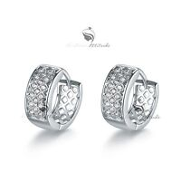 18k white yellow gold gf made with SWAROVSKI crystal luxury huggies earrings