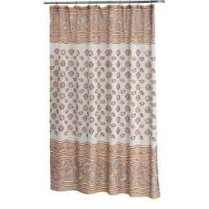 Tan Ivory Beige Beach Seashells Summer Fabric Shower Curtain Bathroom 70 x 72 in