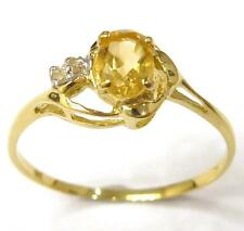 FINE 10KT YELLOW GOLD NATURAL CITRINE & DIAMOND RING SIZE 7   R1360