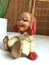 Vintage HENNING Hand Carved NORWAY Wood KNOME Figurine SMILING CHILD Troll SAMI