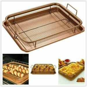 2 PIECE NON STICK OVEN CRISPER TRAY OIL-FREE CRISPY CHIPS CHICKEN COOKING BASKET