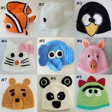 New Crochet Animal Hat Nemo,Penguin,Hello kitty,Elephant,Panda Newborn to Adult