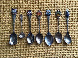 7 Vintage Silver Plated Souvenir Spoons Holland Hern Island Canterbury