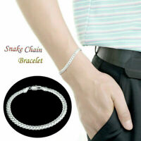 Women Silver Bracelet Fashion Elegant Women 5MM Snake Chain Bangle Jewelry