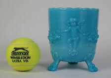 Turquoise blue milk glass slagware cupid tripod vase. Portieux Vallerysthal