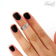 sterling silver knuckle ring Wave design above adjustable knuckle ring (T114)