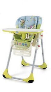 Chicco Polly 2 in 1 Seggiolone Foldable Highchair  Height Adjustable For 6Mths +