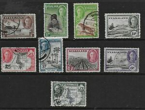 Nyasaland 1945 KGVI Pictorial Issue - SS to 1/- - used