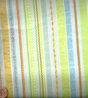 Baby Saurus pastel blue green childrens stripe fabric