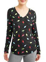 NOBO No Boundaries Holiday Christmas Light Womens V Neck Shirt Junior XS S M LG