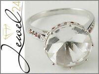 AMAZING STAR Damen Ring 925 Sterling Silber rhodiniert Bergkristall und Granat