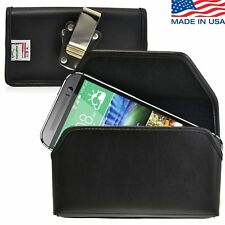 Turtleback HTC One M8 Leather Black Pouch Holster Case with Metal Belt Clip