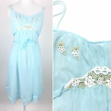 VTG Kayser Blue Nylon Nightgown Negligee Lingerie Floral Babydoll Sz 36 Bust