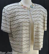 NITELINE by DELLA ROUFOGALI SEXY beaded bolero coat jacket shrug Top XL NEW VTG