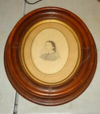Antique Wood Oval Picture Frame Original Glass & Back w/ Watercolor Portrait