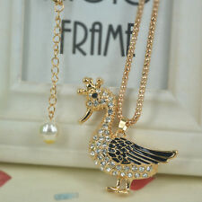 Duck Sweater Bead Long Necklace Rhinestone Crystal Pendant Party Christmas Gift