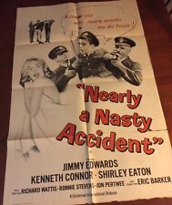 NEARLY A NASTY ACCIDENT Vintage Movie Poster 1962 Jimmy Edwards Shirley Eaton