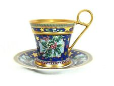 """Versace Rosenthal """"Floral Elegy"""" Cup and Saucer Christmas"""