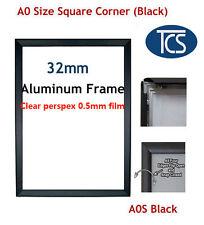 TCS A0 Black Clip Snap Frame Square Corner / Poster Frame / Picture Display 32mm