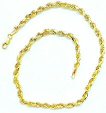 "Rope 3.7mm Bracelet/Anklet 10.2 Grams 10K Solid Gold 11"" Twisted"