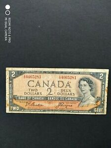 Canadian $2 note.c1954.'The Devil Face note' I/B 4065281.F cond. Beattie / Coyne