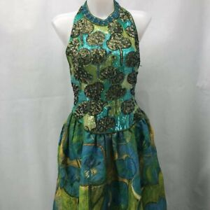 Mary Mcfadden Green Vintage Evening Gown 10