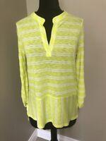 Splendid V-Neck Henley Neon Yellow Stripe Tab Sleeves Side Slit Top Tunic Small