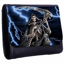 The Grim Reaper With Her Death Scythe Tri-Fold Wallet w/ Button Pocket