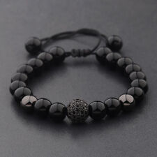 Charm Men's Bright Zircon Micro Pave Black Natural Stone Round Beaded Bracelets