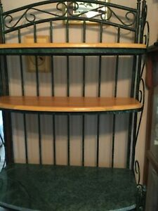 Bakers Rack  Wrought Iron w/  2 wood 1 marble??? Shelves