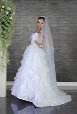 "New White Ivory Wedding Bridal Satin Edge 2 Tier Veil Knee Length 70"" with Comb"