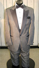 MEN VINTAGE GRAY TUXEDO BOW TIE AND CUMMERBUND 4PC 46S