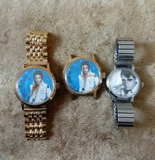 Lot Of 3 ELVIS PRESLEY 1977 Unique Time Co Elvis Watch On Band + 2 Others