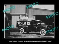 OLD HISTORIC PHOTO OF PERTH WESTERN AUSTRALIA THE WESTERN ICE Co TRUCK c1920