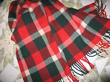 Beautiful VTG Wool Blanket~Camp~Lodge~Stadium~Red~Green~Off White