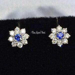 14k White Gold Natural Blue Ceylon Sapphire Diamond Minimalist Flower Ear Stud