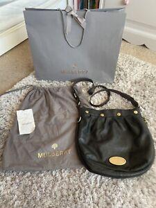 Mulberry Genuine Designer 'Mitzy' Messenger Hobo Black Leather Bag