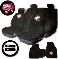 Rosa y Negro Estilo De Princesa 15PC Lavable Universal completo conjunto de Cubierta de asiento de coche NUEVO