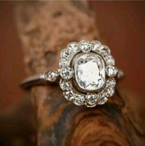 Vintage Style Engagement Art Deco Ring 14K White Gold Finish 925 2.11 Ct Diamond
