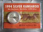 1994 KANGAROO CARDED 1OZ SILVER COIN