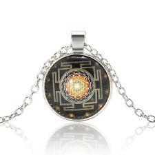 Sri Yantra Photo Cabochon Glass Tibet Silver Chain Pendant Necklace Folk Custom