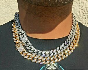 20mm Men's CZ Gold Silver Toned Big Fat Iced Miami Cuban Chain Necklace