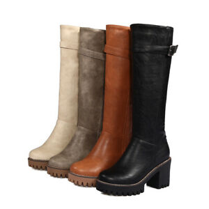 Women's Knight Riding Boots Platform Motorcycle Shoes Block Heel Knee High Shoes